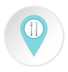 Light blue map pointer with restaurant sign icon vector