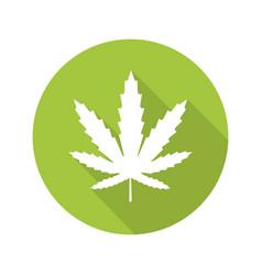 marijuana leaf flat design long shadow icon vector image