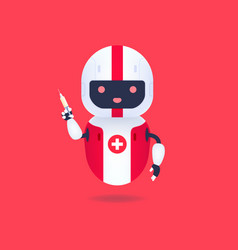 Medical friendly android robot holding syringe vector