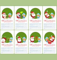 merry christmas green set vector image