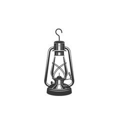 mining oil lamp isolated monochrome lantern icon vector image