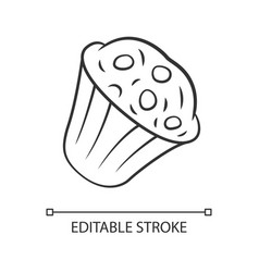 Muffin linear icon cupcake with chocolate chips vector