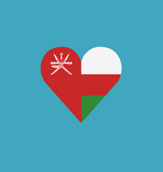 oman flag icon in a heart shape in flat design vector image