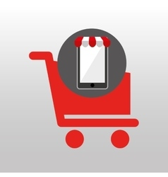 Online shopping red cart buy design vector