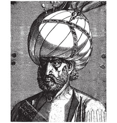 ottoman sultan suleiman magnificent portrait vector image
