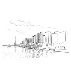 paris eiffel tower and river seine cityscape vector image
