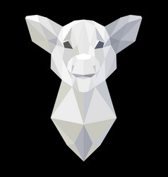 Pig head polygonal white model vector