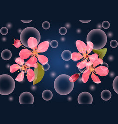 Pink blossoming cherry on dark blue seamless vector