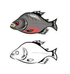 piranha fish isolated on white background vector image