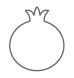 Pomegranate thin line icon fruit and vitamin vector