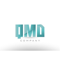 Qmd q m d alphabet three 3 letter green logo icon vector