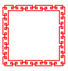 red chinese pattern frame on white background vector image
