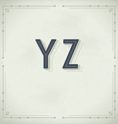 Retro Font from Y to Z Vintage Typography vector