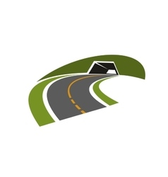 Road tunnel through green hill icon vector image
