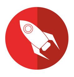 rocket startup launch icon shadow vector image vector image