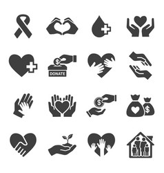 set charity and donate icon set vector image