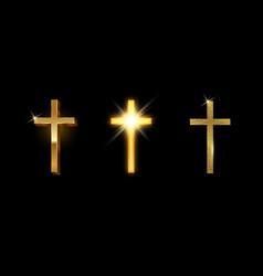 set golden latin cross shining glitter gold vector image