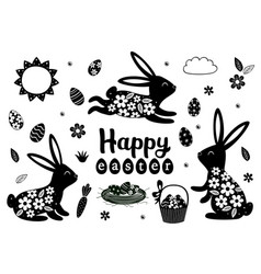 set isolated black easter bunny and eggs vector image
