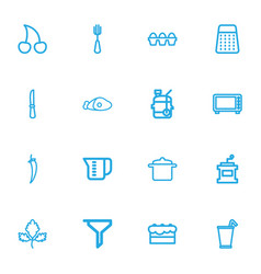 Set of 16 editable meal outline icons includes vector