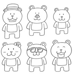 Set of bear family vector