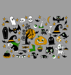 Set of halloween element patches pumpkin vector
