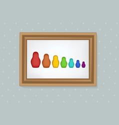 set of nesting dolls in a frame vector image