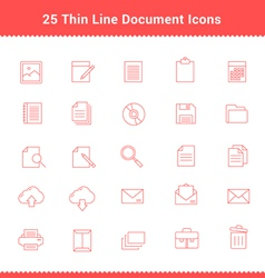 Set of Thin Line Stroke Document Icons vector