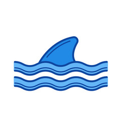 Shark fin above water line icon vector