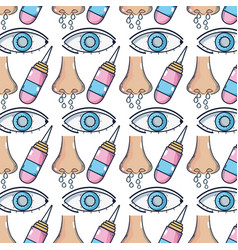 Sickness runny nose and conjunctivitis wih medical vector