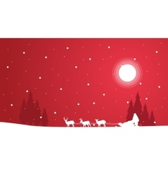 Silhouette of train Santa scenery vector