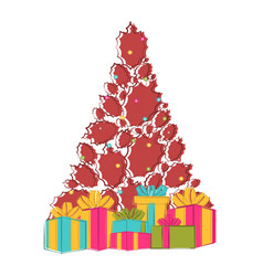 sketch of a christmas tree with presents vector image