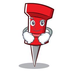 Smirking red pin character cartoon vector