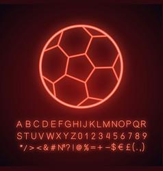 soccer ball neon light icon vector image