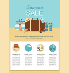 summer sale infographic suitcase and accessories vector image