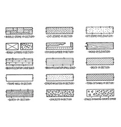 Symbols of building materials persons in the vector