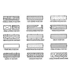 Symbols of building materials persons vector