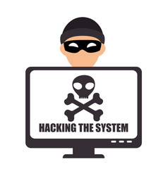 system hacker character icon vector image