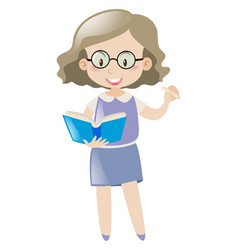 Teacher with chalk and book vector
