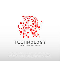 Technology logo with initial r letter network vector