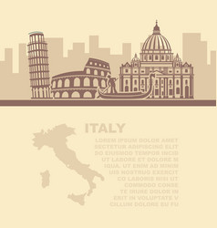 template leaflets with a map and vector image