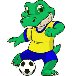 the crocodile plays football vector image
