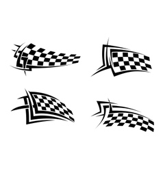 Tribal signs with checkered flags vector image