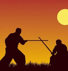 Two men are occupied with aikido against the vector