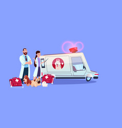 Veterinarian doctors standing at ambulance car vector