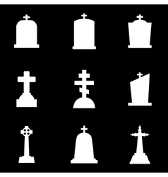 White gravestone icon set vector