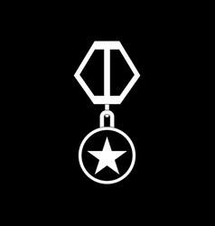 White icon on black background military medal vector