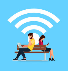 Wi-fi concept couple young people on the bench vector