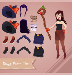 Witch paper doll vector