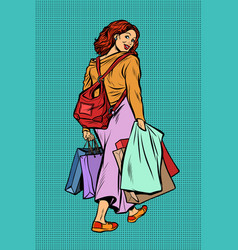 Woman goes shopping vector