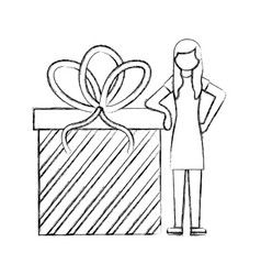 woman standing with big birthday gift hand drawing vector image